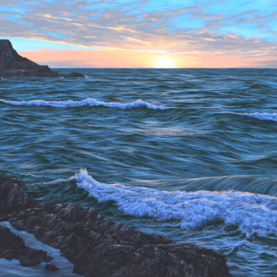 """A Sunset over Fistral, Cornwall"" 110 cm x 160 cm oil on canvas"