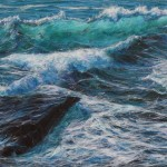 """Stirring sea at Trebarwith"""