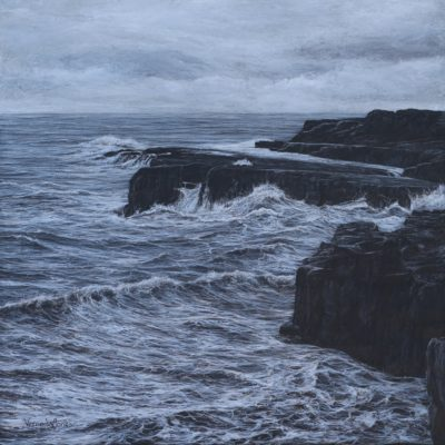 """Black rocks at Ogmore"" 50cm x 50cm acrylic on canvas"