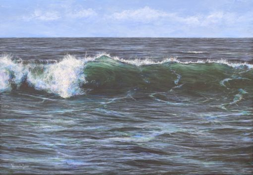 """Rolling Cornish wave"" 69cm x 99cm acrylic on canvas"