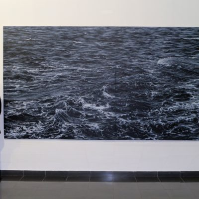 """Rough sea battling the rock wall at Ogmore"" Acrylic on canvas (Tetraptych) 200cm x 400cm"