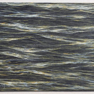 """""""Small sea at dawn painting"""" 18.2cm x 25.7cm acrylic on canvas panel"""