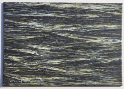 """Small sea at dawn painting"" 18.2cm x 25.7cm acrylic on canvas panel"