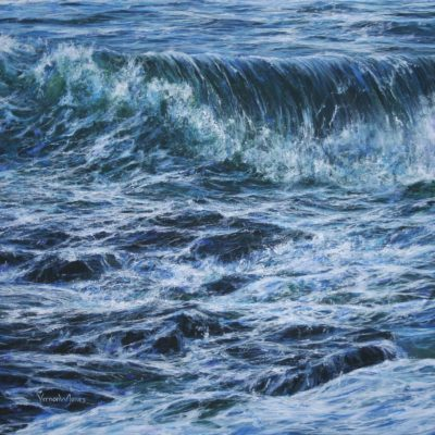 """Breaking wave over the shoreline rocks"", 90cm x 90cm, acrylic on linen canvas"