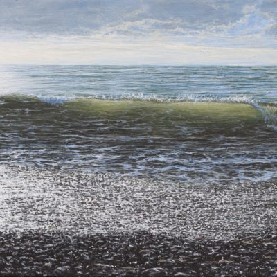 """On the shore at Aberystwyth's south beach"" 30cm x 60cm acrylic on canvas"