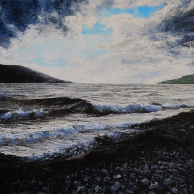 """Storm Hector reaches Ullapool"" acrylic on canvas 70cm x 100cm"