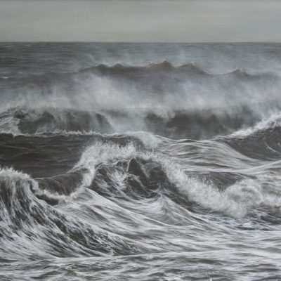 """The last of the storm at Southerndown"" acrylic on canvas 60cm x 120cm"