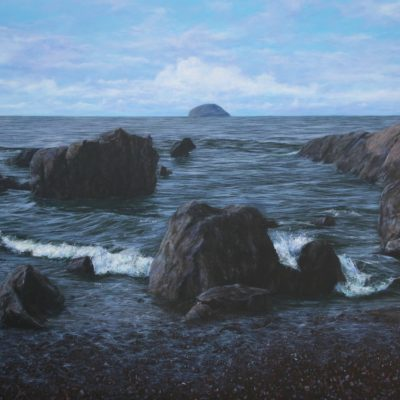 """Passing between the rocks at Girvan"" acrylic on linen, 110cm x 160cm"