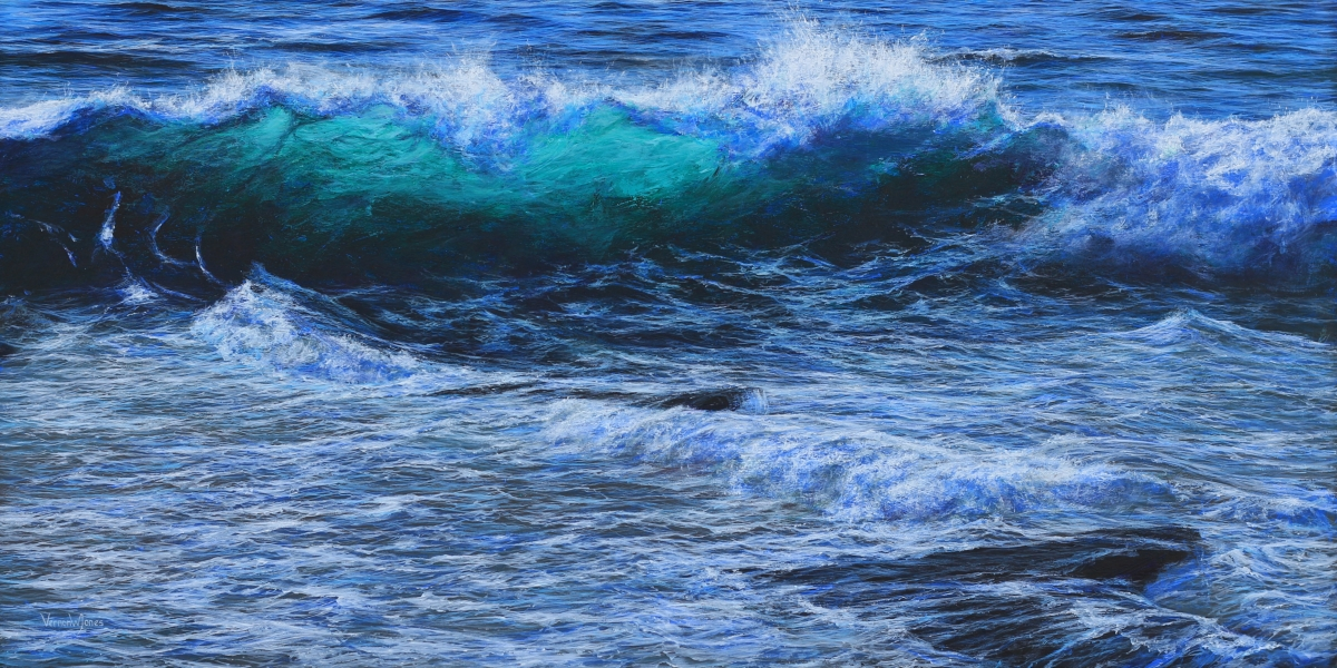 """Illuminated wave, Trebarwith\"" 70cm x 140cm acrylic on canvas."