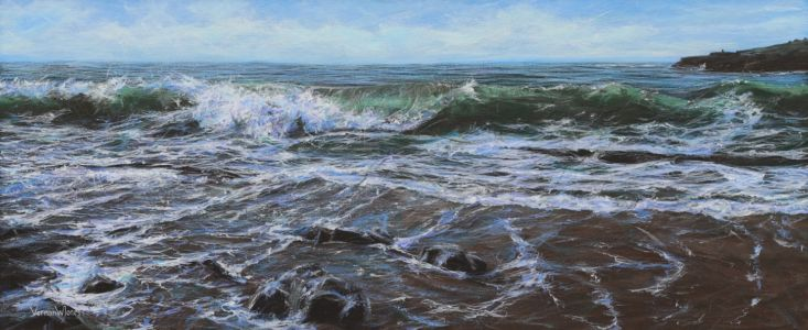 "AWARD WINNING PAINTING ""Breaking wave at Porthcawl"" acrylic on canvas 46cm x 111cm"