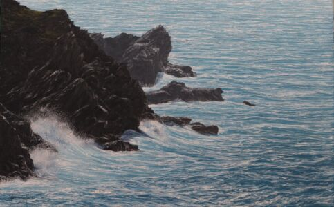 """""""Distant Jagged Rocks And Cliff At Pentire, Cornwall"""" 25cm X 40cm Oil On Panel"""