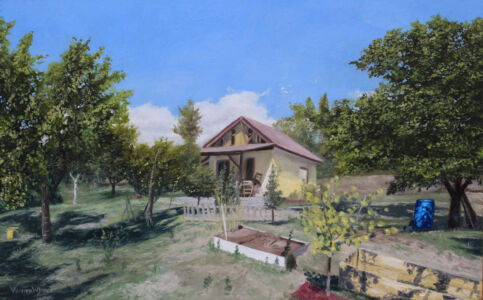 """""""Weekend house somewhere in Macedonia"""" 25cm x 40cm oil on panel"""