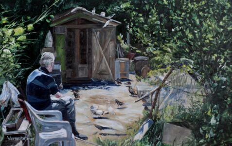 """""""Man With His Pigeons"""" 25cm X 40cm Oil On Panel"""