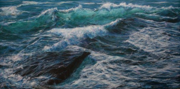 """Stirring sea at Trebarwith"" 60cm x 120cm acrylic on canvas"