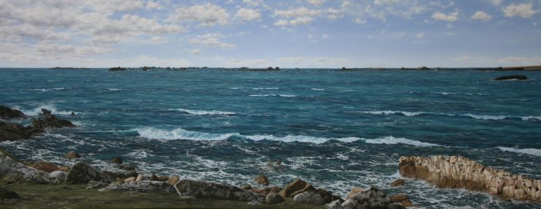 """View Of The Western Rocks, St. Agnes, Isles Of Scilly"" 100cm x 260cm oil on canvas"