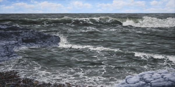 """Waves At Ogmore, South Wales"" 50cm X 100cm oil on canvas"