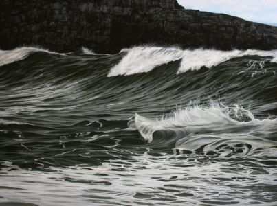 """Breakers against rockface in shadow"" 70x100cm oil on canvas"