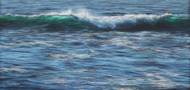 """Breaking wave farthest from the shoreline"" 57cm x 120cm acrylic on linen canvas"