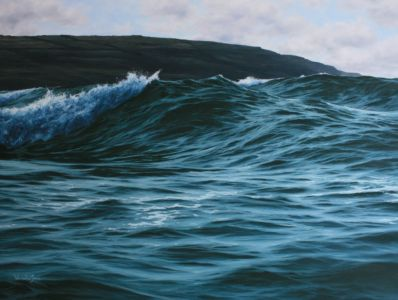 """Cornish breakers"" 70cm x 100cm oil on canvas"