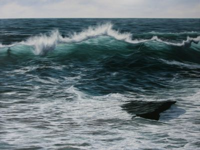 """Dancing waves"" 90cm x 120cm oil on canvas"