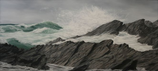 """Fistral, Newquay"" 59cm X 130cm oil on canvas"