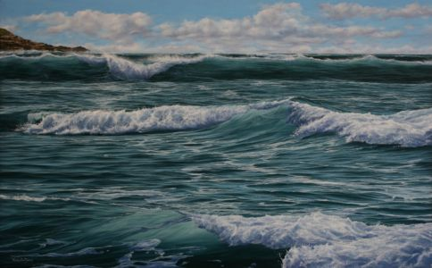"""Four waves"" 50cm X 80cm oil on canvas"