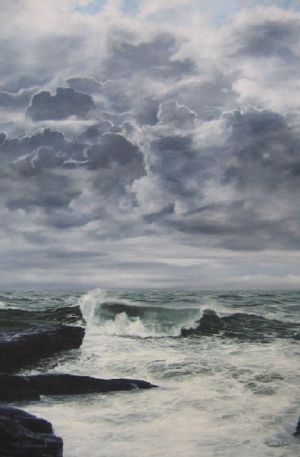 """High tide, Trebarwith Strand, Cornwall"" 70cm x 50cm oil on canvas"
