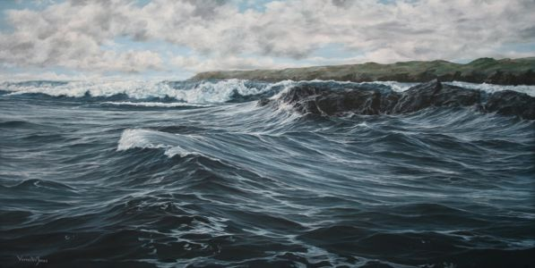 """Jostling currents"" 50cm X 100cm oil on canvas"