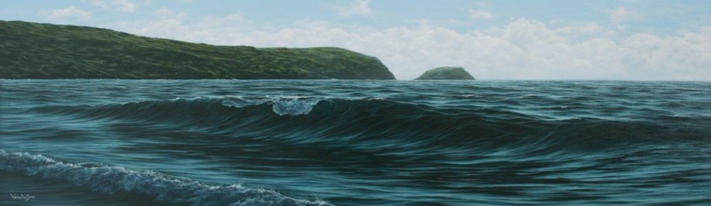 """Reaching for the shoreline"" 30cm X 100cm oil on canvas"
