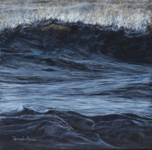 """Backlit wave, Ogmore"" 30cm x 30cm acrylic on linen"