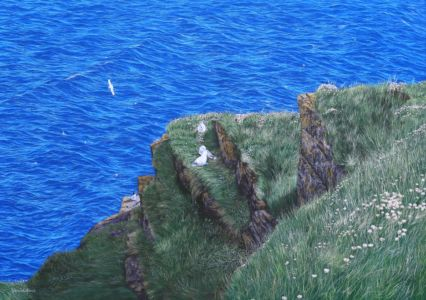 """""""Bird Haven near to Duncansby Stacks"""" 70cm x 100cm oil on canvas"""