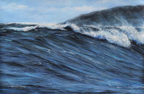 """Breaking wave at fFstral beach, Cornwall"" 40cm x 60cm acrylic on linen"
