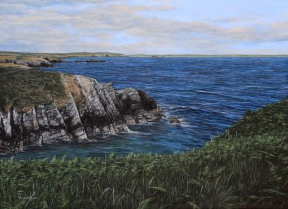 """Coastal walk from Porthclais Harbour, Pembrokeshire"". acrylic on canvas 59cm x 80cm"