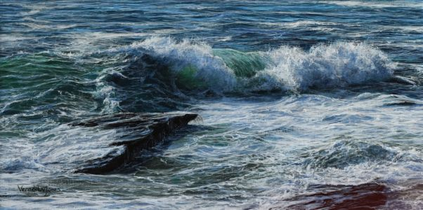 """Curling wave at Trebarwith Strand""  20cm x 40cm acrylic on canvas"