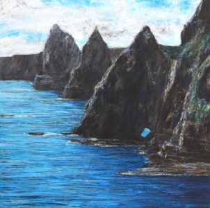 """""""Duncansby Stacks"""" 50cm x 50cm acrylic on canvas"""
