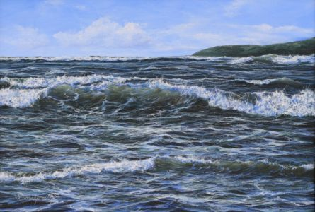 """Illuminated waves"" 40cm x 60cm acrylic on canvas"