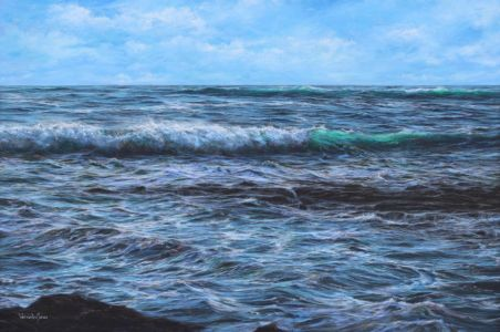 """Rocky outcrop and turbulent sea"" 100cm x 150cm acrylic on canvas."