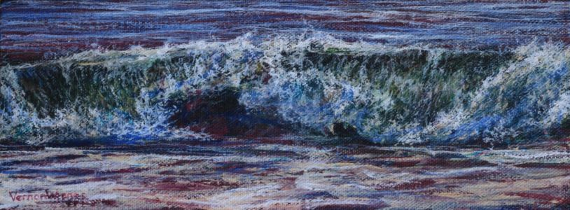 """Small wave study 1"" 10cm x 27cm acrylic on canvas panel"