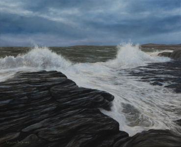 """Surging tide at Ogmore"" 40cm x 50cm oil on canvas"