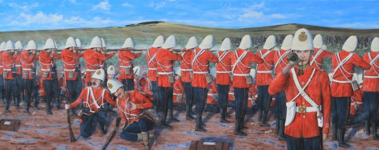 """9's in action at Gingindlovu 1879"" acrylic on canvas 60cm x 150cm"
