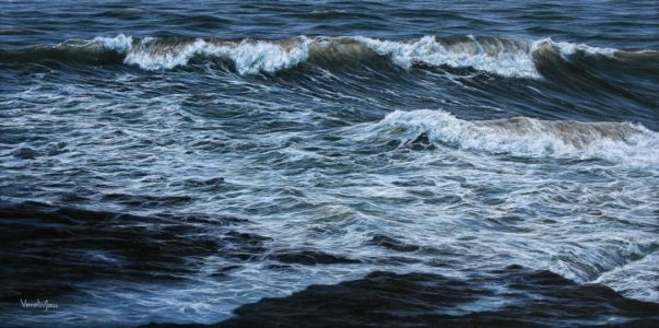 """Tumbling into the rocky shore"" 60cm x 120cm acrylic on linen"