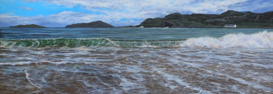 """Wave at Clashnessie"" 55cm x 160cm acrylic on canvas"