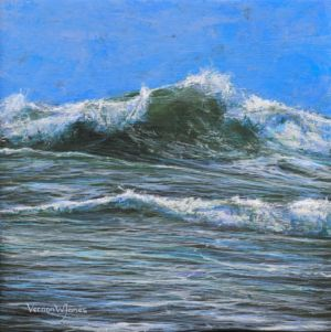 """Cornish wave study"" 30cm x 30cm acrylic on linen"