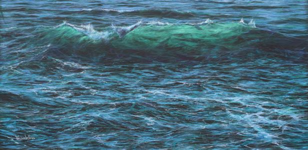 """Cresting wave"" 60cm x 120cm acrylic on canvas"
