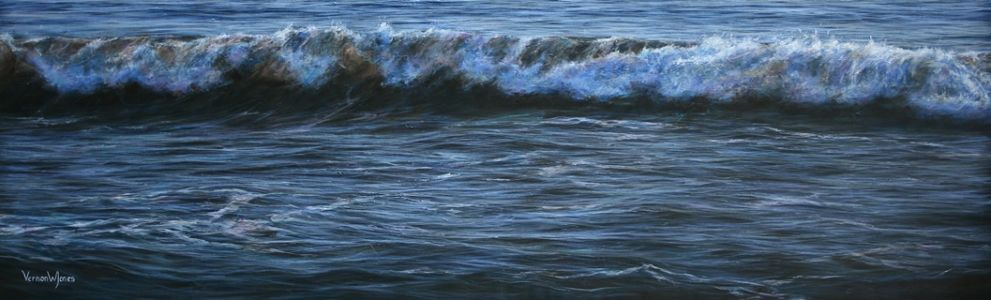 """Evening settles over Ogmore"" 44cm x 142cm acrylic on canvas"