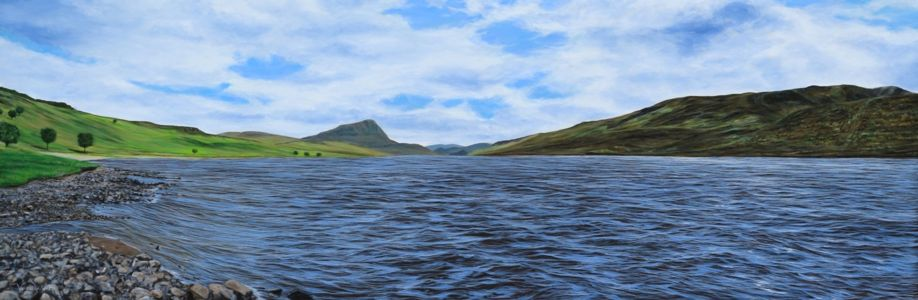 """""""View from where the River Hope enters Loch Hope"""" 40cm x 120cm acrylic on canvas"""