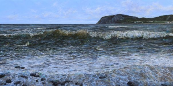"AWARD WINNING PAINTING ""Little Orme Llandudno"" 60cm x 120cm acrylic on canvas"