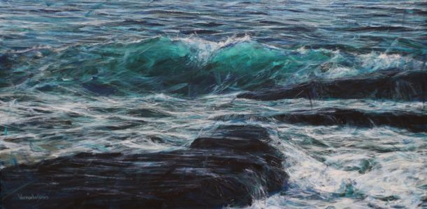 """Over the rocks"" 50cm x 100cm acrylic on canvas"