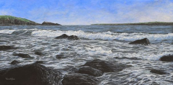 """Rocky beach"" 60cm x 120cm acrylic on linen"