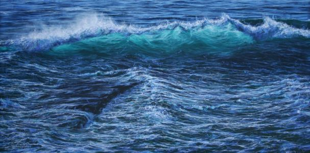 """Sunlit wave and spray at Trebarwith""  60cm x 120cm  acrylic on linen."